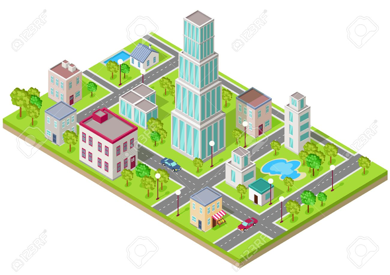 Isometric Icon Of The City Is Flat Building House Architecture Street Urban Town
