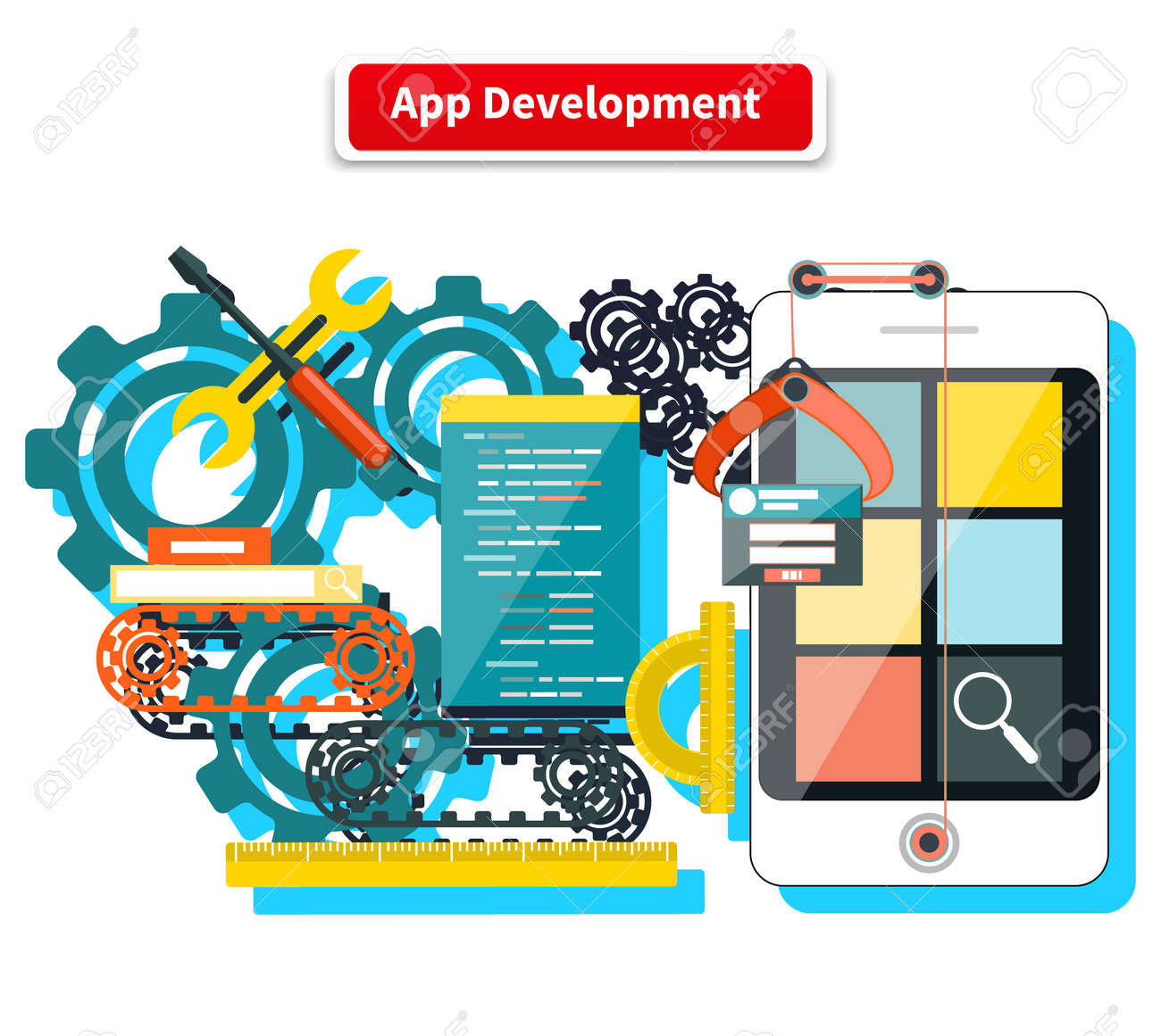 Concept for app development with smartphone, tools, programing