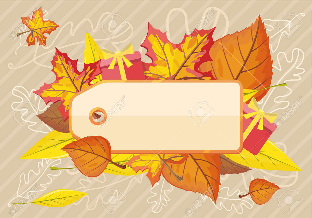 tag label template for autumn sale fall sale autumn leaves