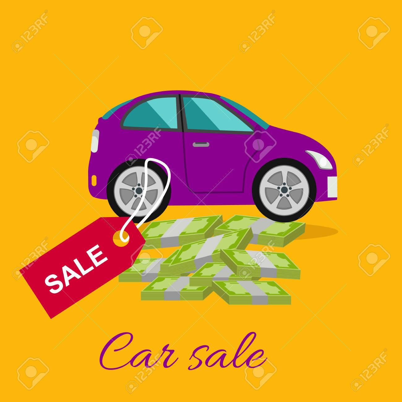 Car Sale Design Template With Modern Car And Tag. Concept In ...