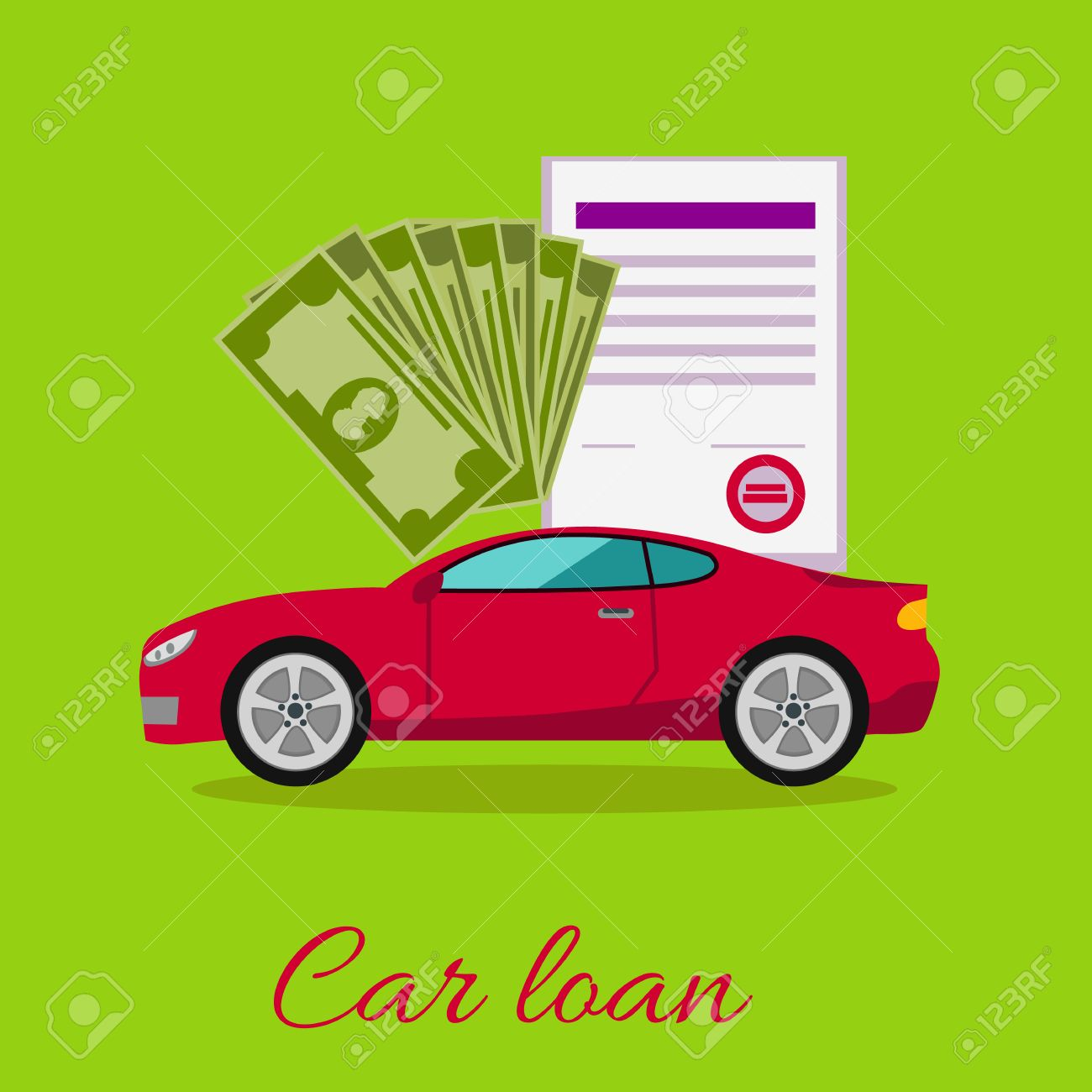 Car Loan Approved Document With Dollars Money Concept. Modern Car ...