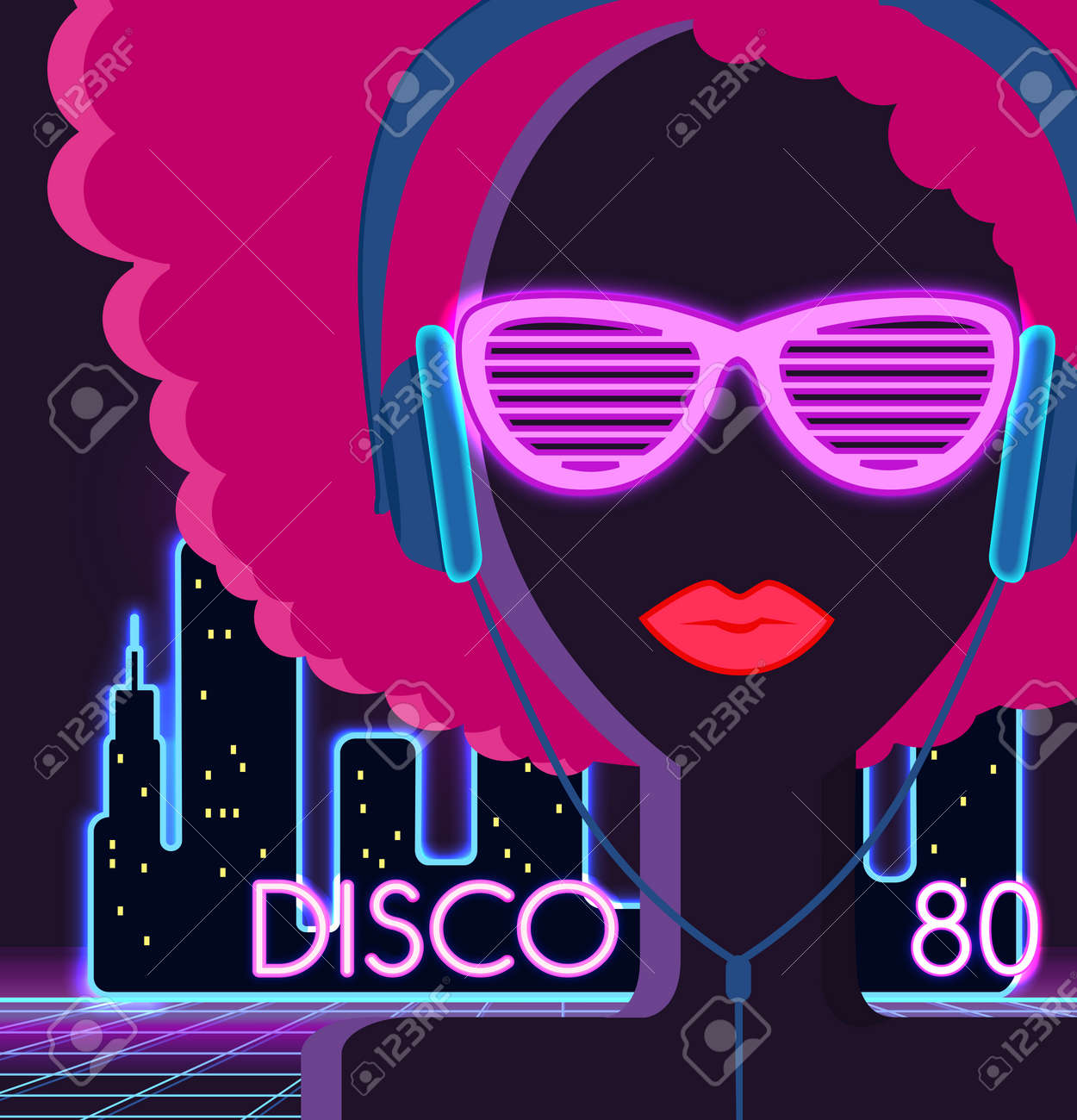 Disco 80s  Girl with headphones  Party and dance, dj and club,