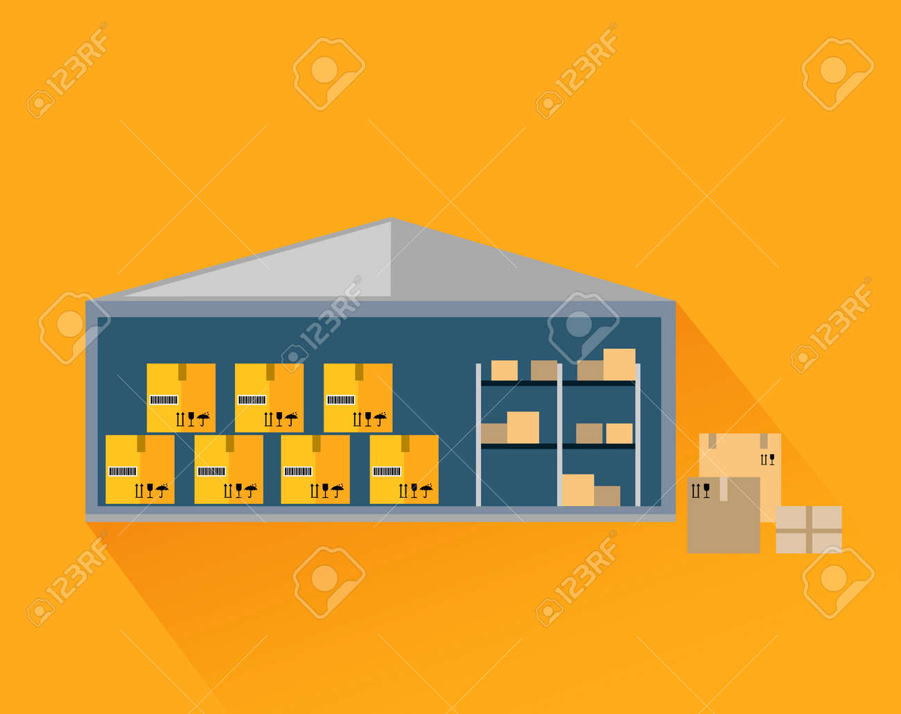 Storage Warehouse With Boxes In Cut. Storage Unit, Warehouse Interior,  Storage Boxes,
