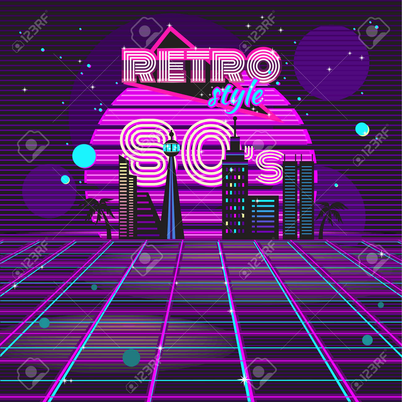 80s Design retro style 80s disco design neon. 80s party, 80s fashion, 80s