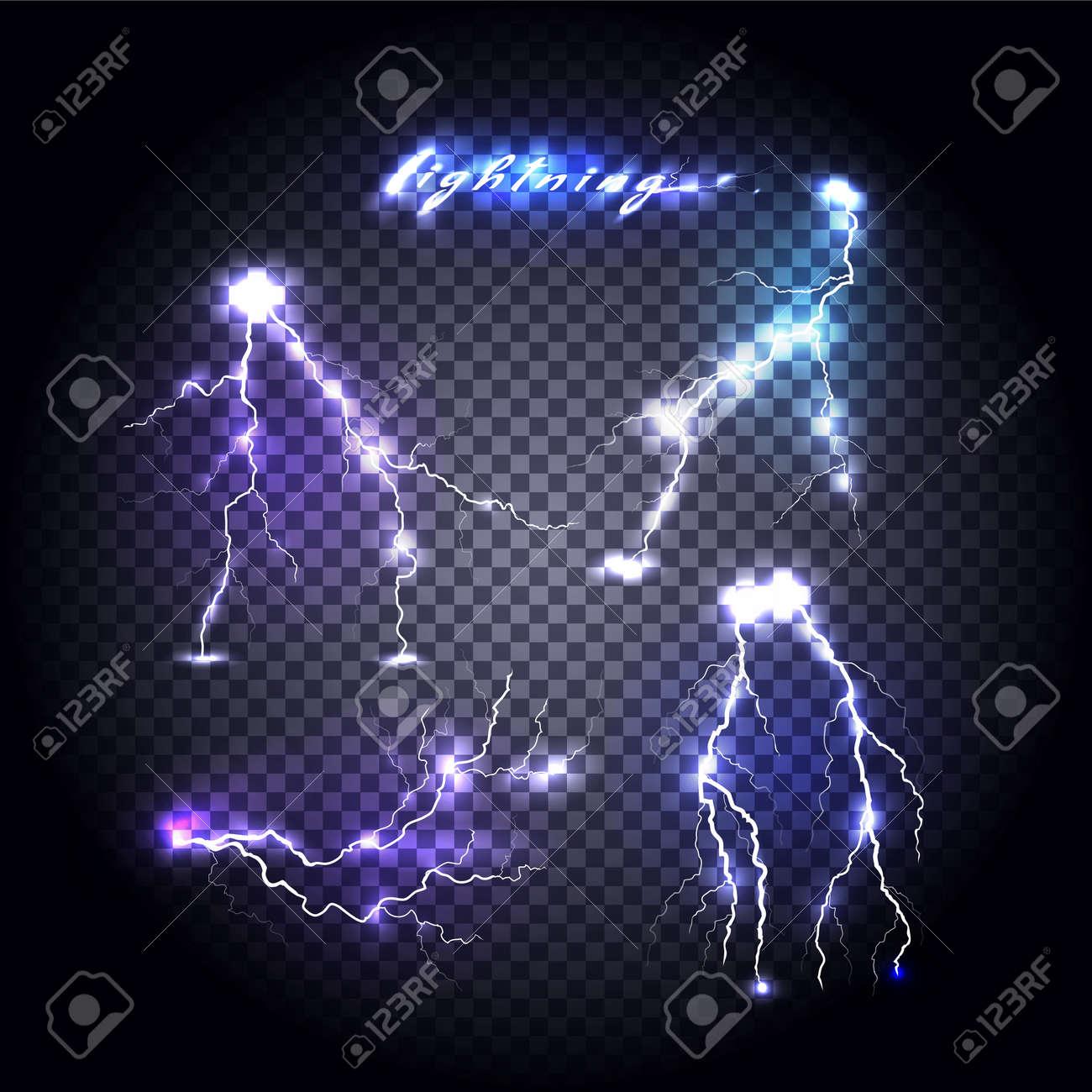 Set of bright lightning design. Light and lightning bolt, electricity and lightning storm, storm and thunder, bright flash, power energy, shock danger, thunderstorm abstract illustration - 49426477