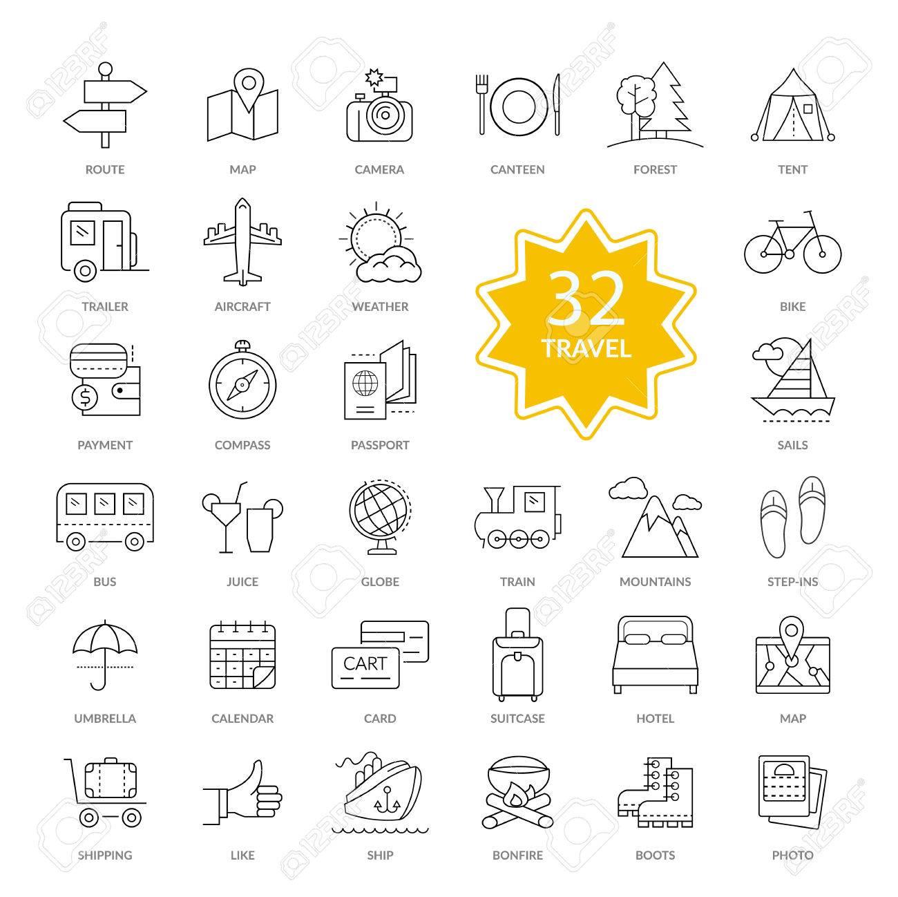 Set Aus 32 Dünnen, Linien, Umrisse Reiseutensilien Symbole ...