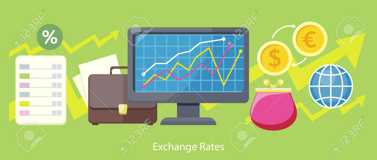 Exchange rates design flat concept  Exchange icon, currency and