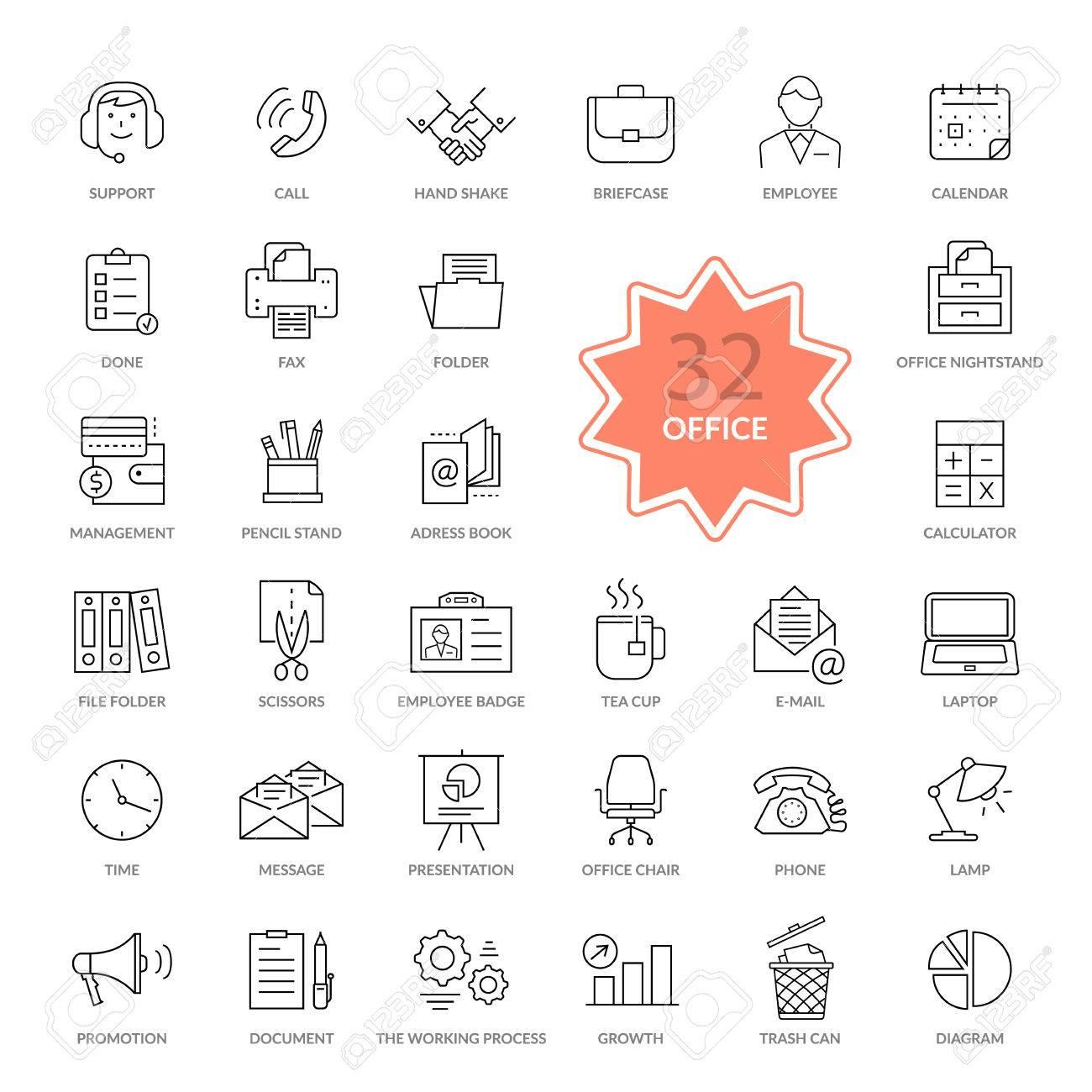 Set Aus 32 Dunnen Linien Umrisse Buroartikel Symbole Icon Set