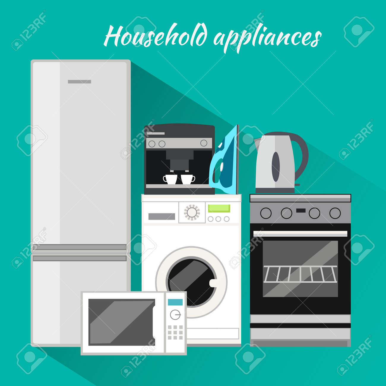 Uncategorized Domestic Kitchen Appliances household appliances flat design items washing machine kitchen equipment and