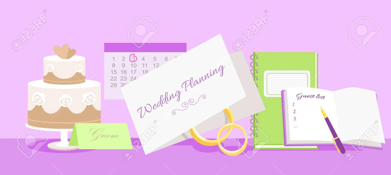 Wedding Planning Design Flat Fashion Wedding Planner Event