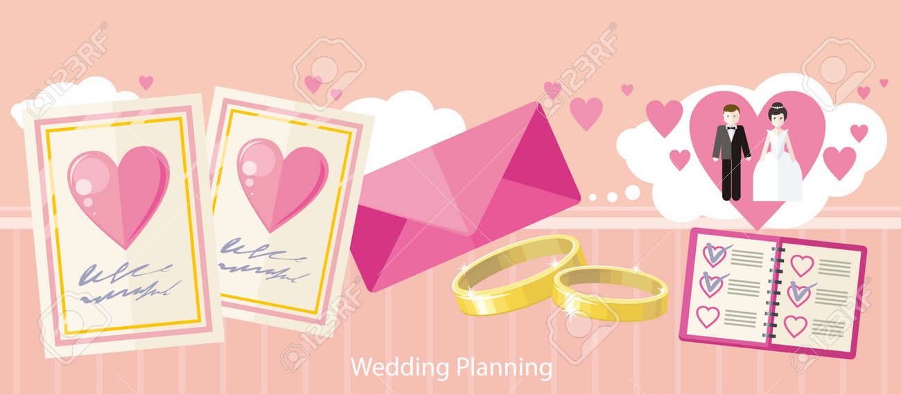 Wedding Planning Design Flat Fashion Wedding Planner Event