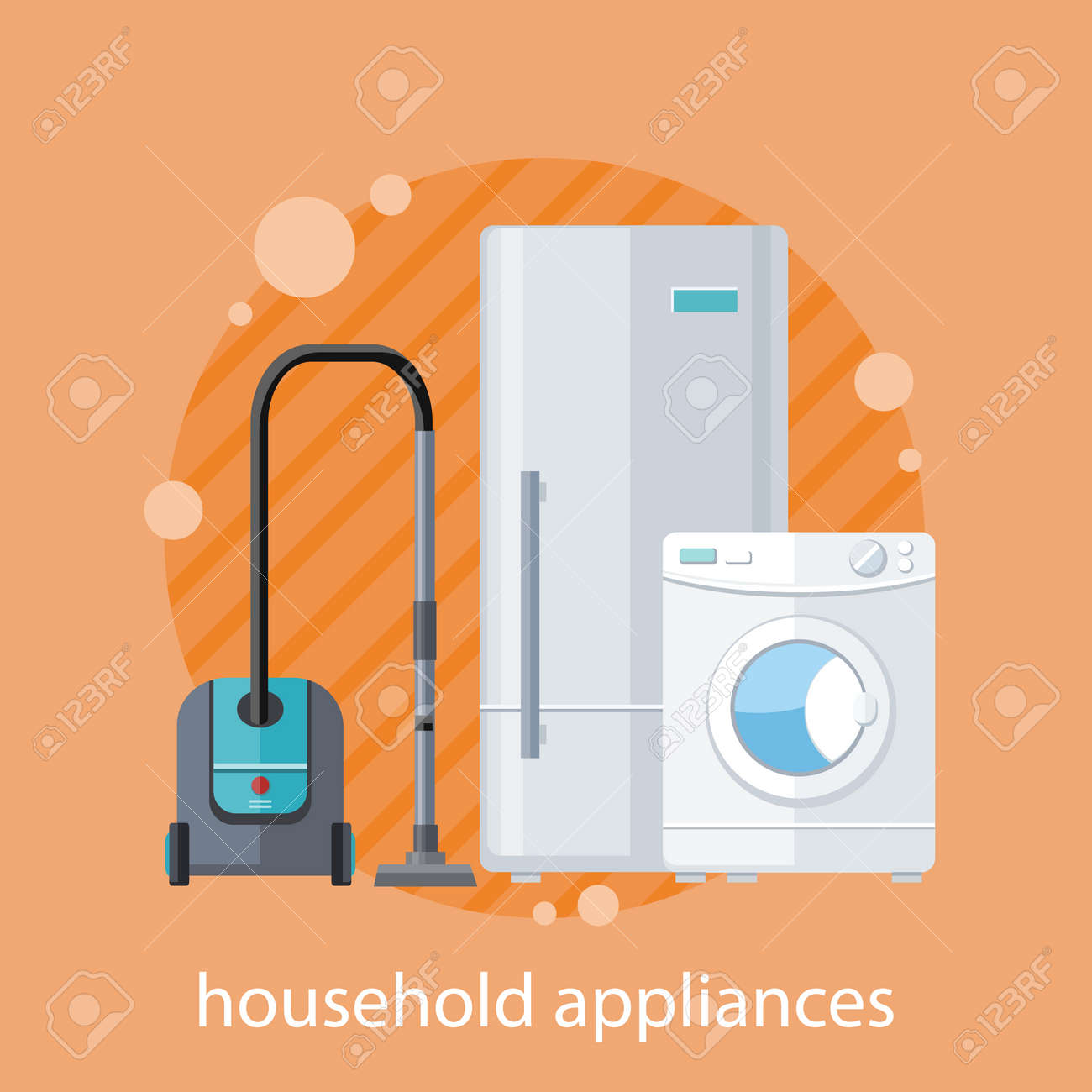 Household Appliances Flat Design Household Items Washing Machine