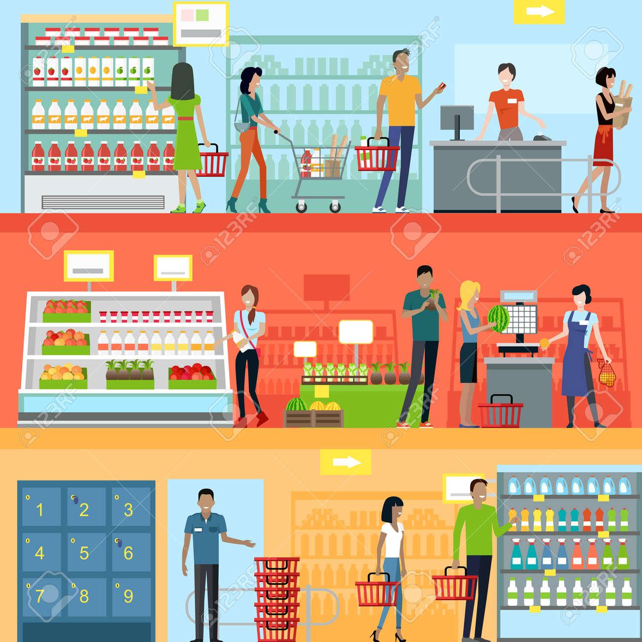 People in supermarket interior design. People shopping, supermarket shopping, marketing people, market shop interior, customer in mall, retail store illustration Foto de archivo - 50439652