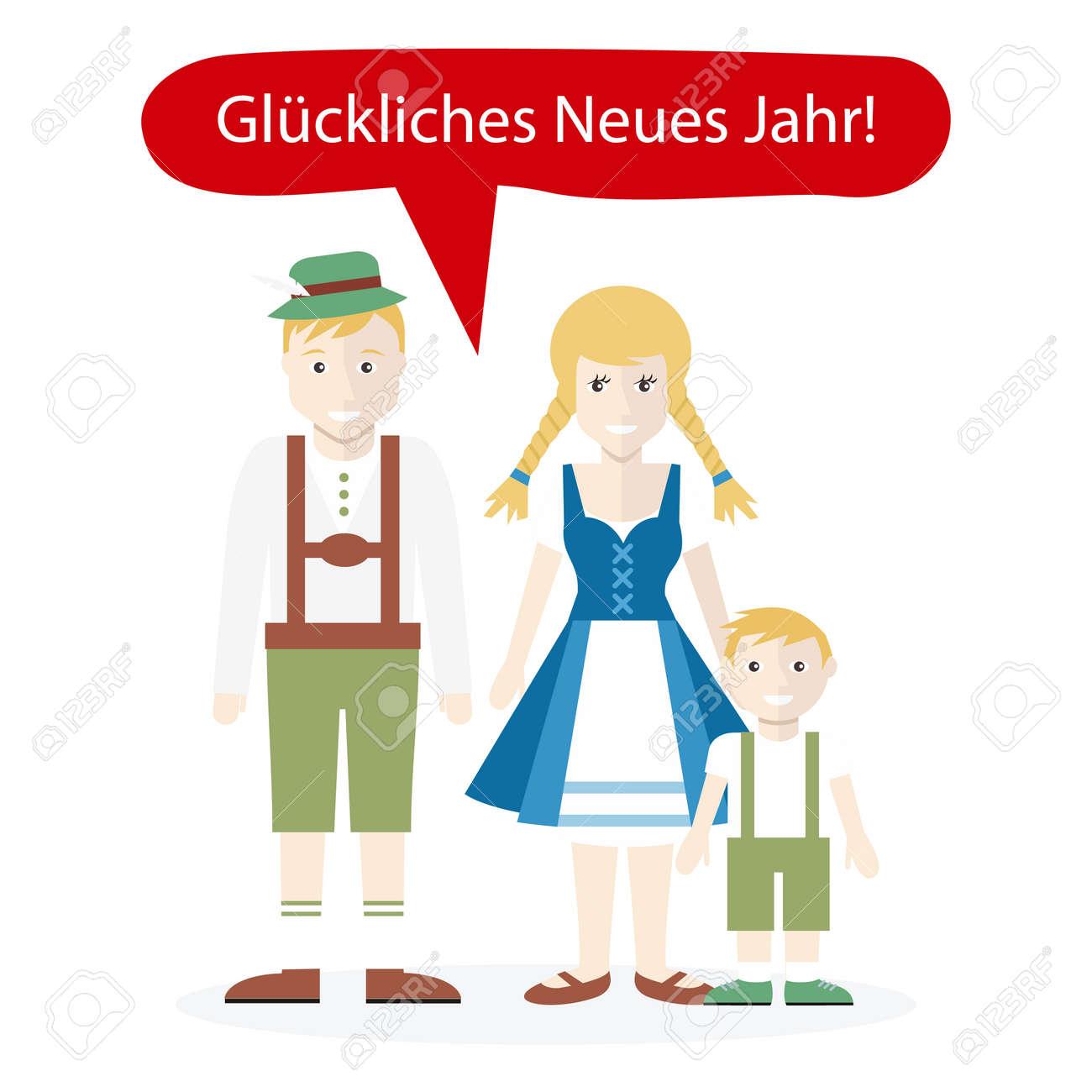Deutsche Menschen Gratulation Frohes Neues Jahr. Familie Mann Frau ...