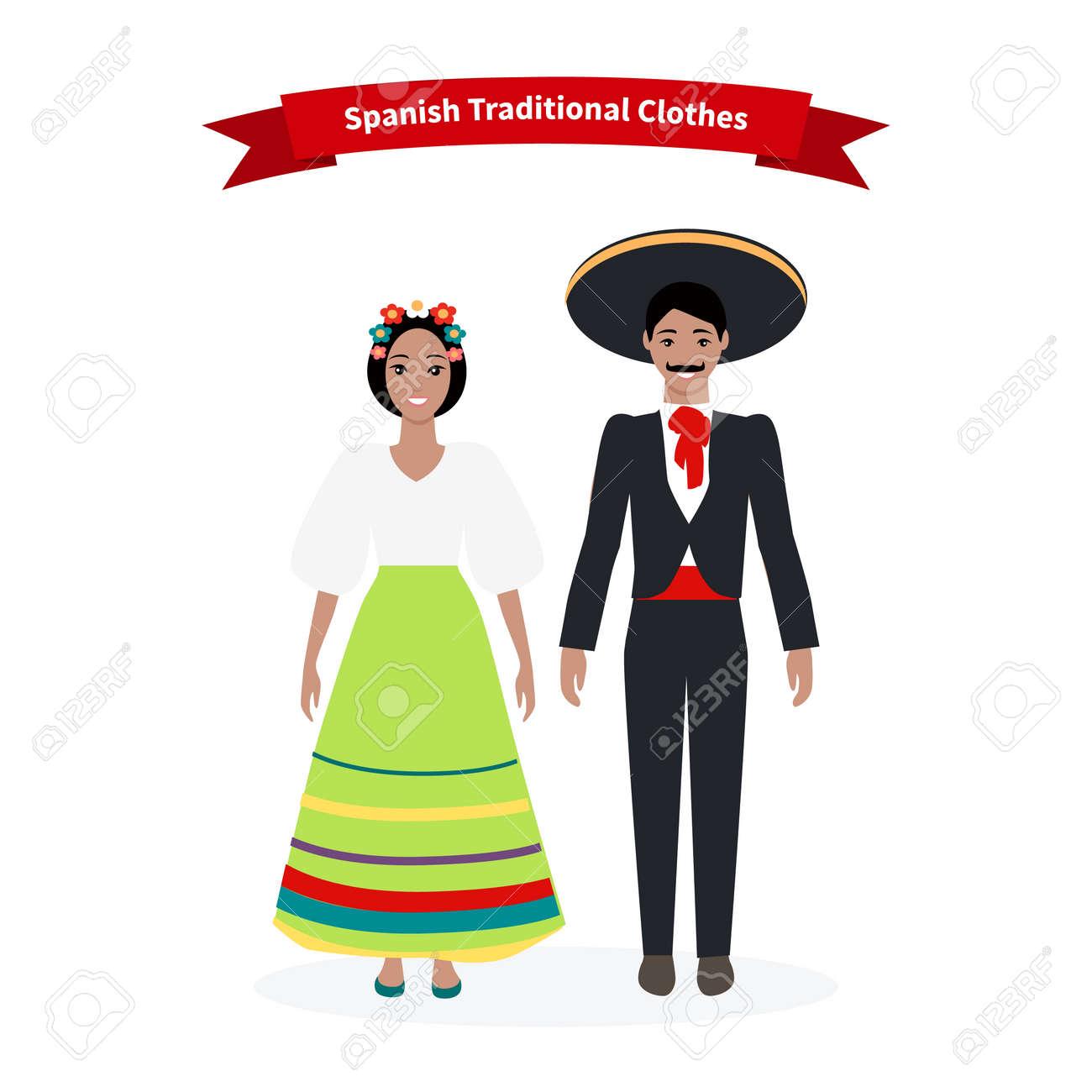 spanisch traditionelle kleidung menschen. kultur und kleidung, spanien  kostüm, weibliche person, kleid für mädchen, ein mann und eine frau,