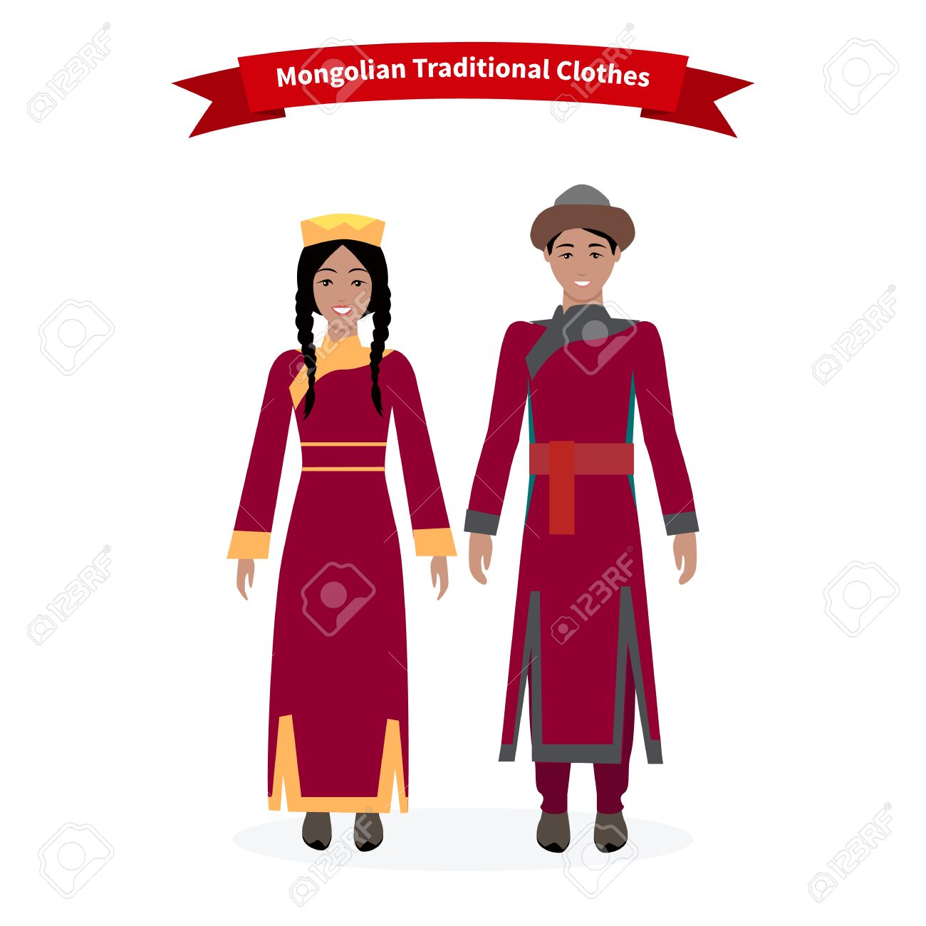 198c82b43e3 Mongolian Traditional Clothes People. Mongolian Clothing