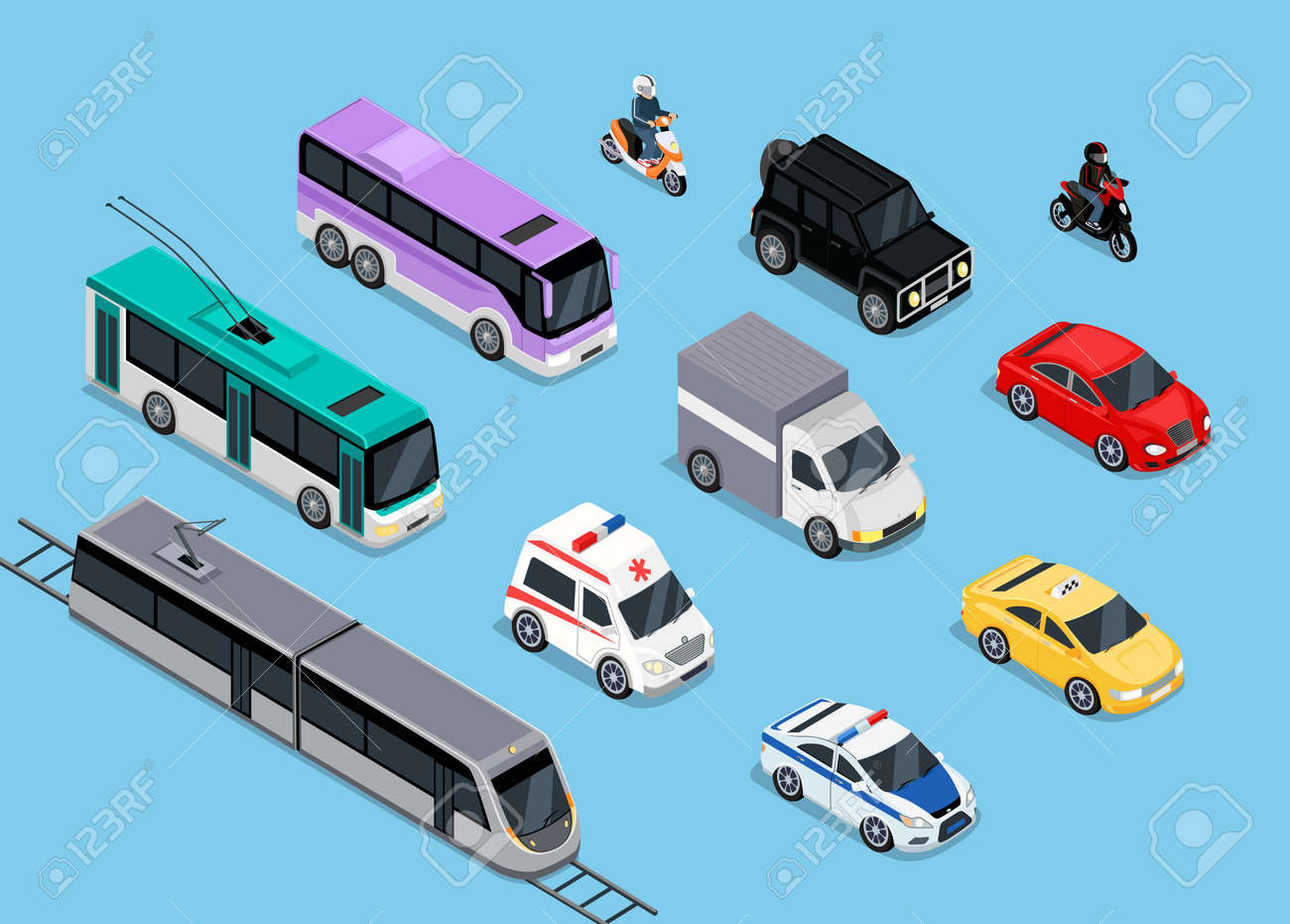 Isometric 3d transport set flat design. Car vehicle, transportation traffic, truck van, auto cargo, bus and automobile, police and motorcycle illustration Stock Vector - 50867574