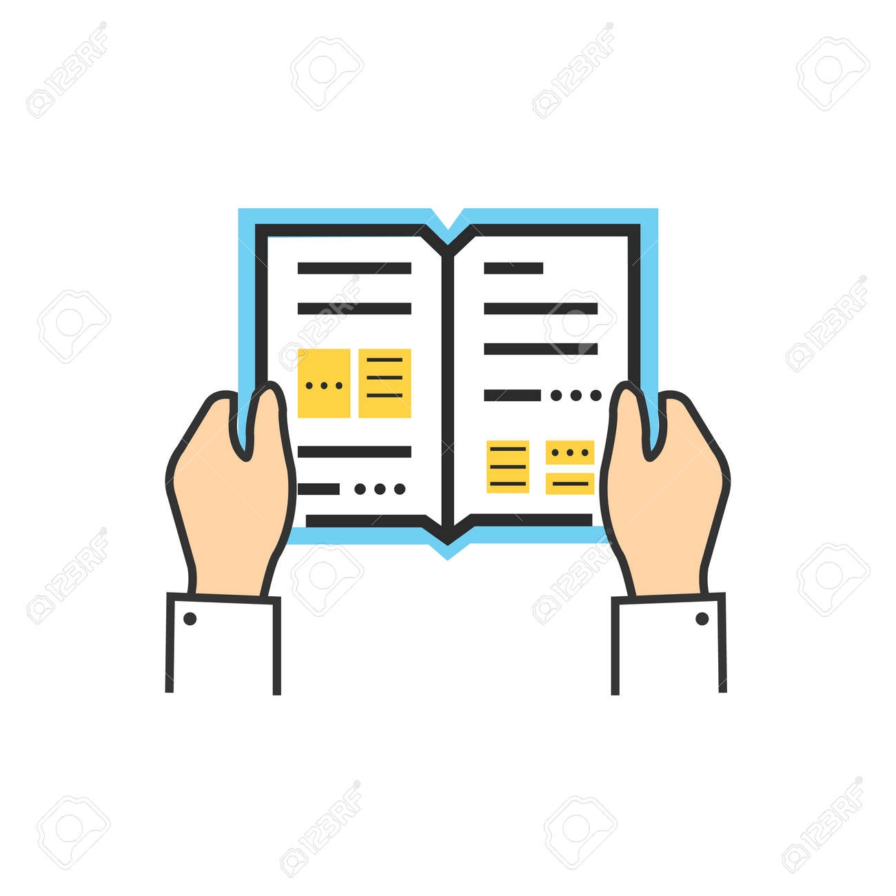 Reading book encyclopedia textbook icon flat. Reading book, man reading book. Book reader sign icon. Person reading book. Read book isolated icon. Hands hold book. Reading book illustration - 50967543