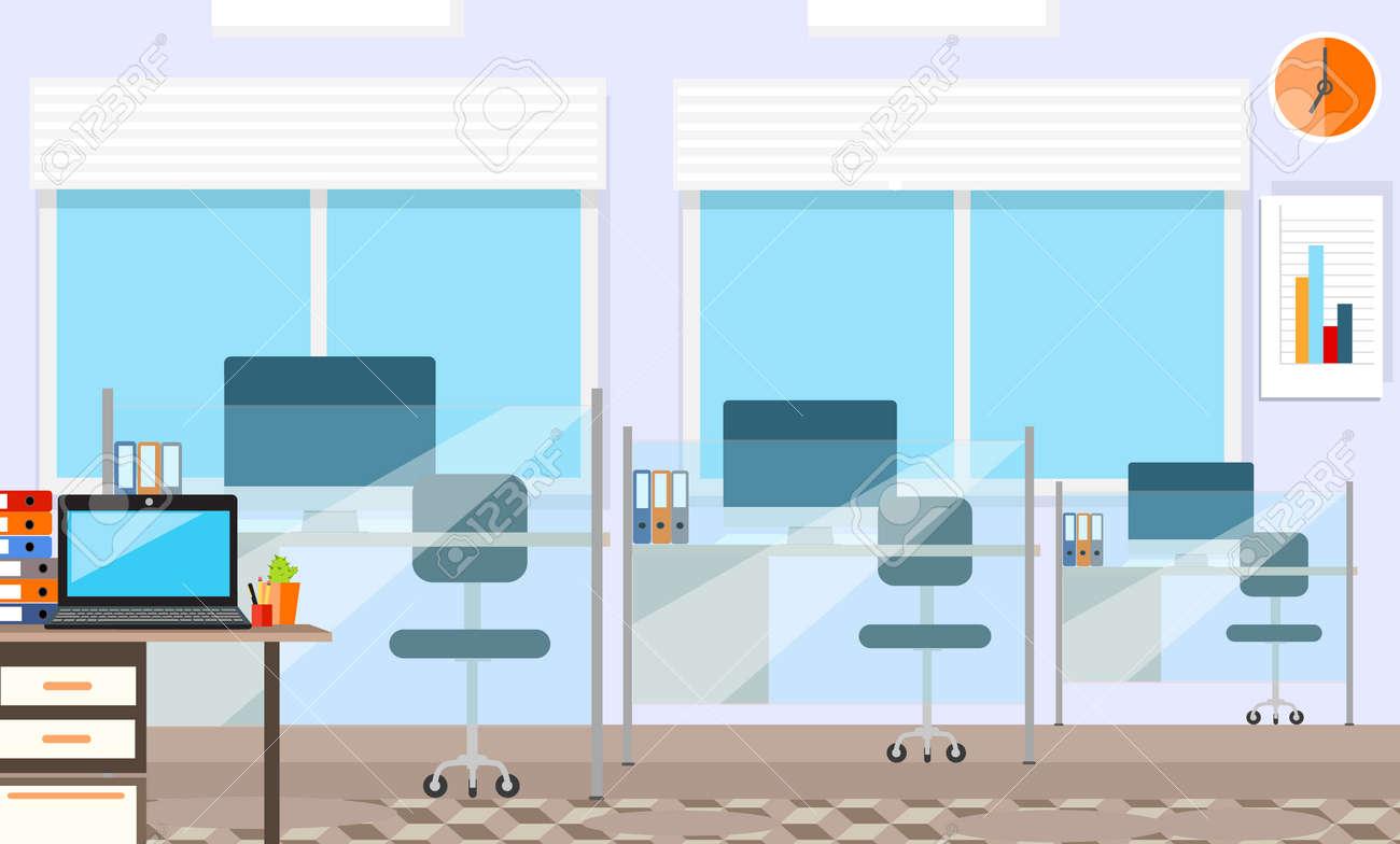 Moderne Büro Inter Mit Designer-Desktop In Flacher Bauform. Inter ...