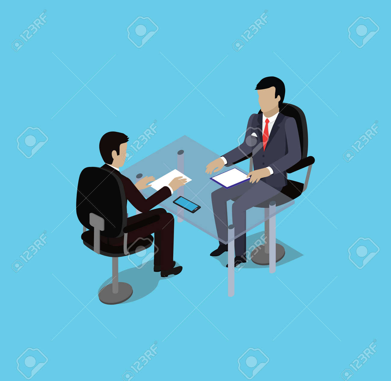 Isometric hiring recruiting interview. Look resume applicant employer. Hands Hold CV profile. Isometric 3d HR, recruiting, we are hiring. Candidate job position. Hire and interviewer. Business meeting - 51245422