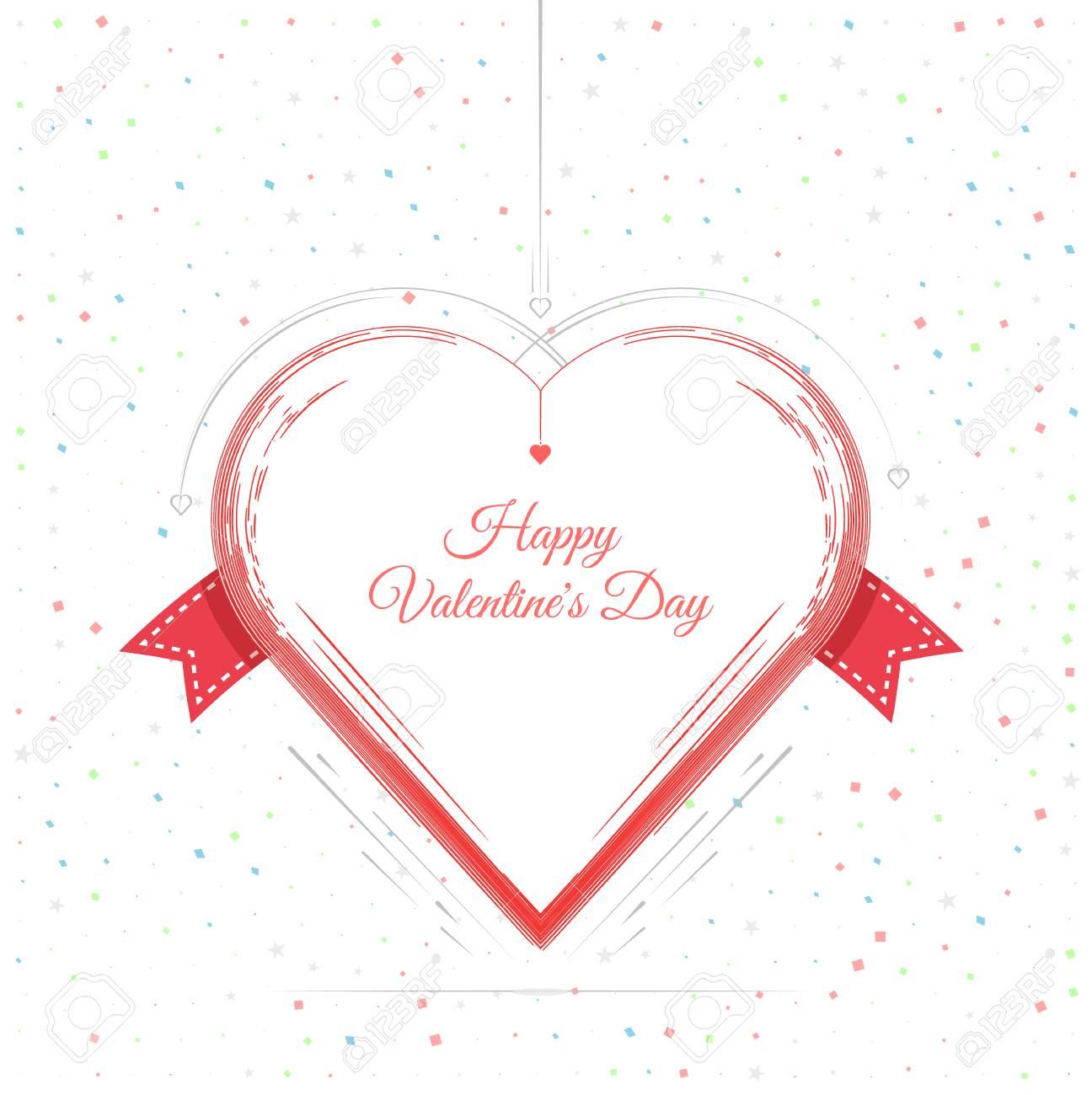 Tarjeta De San Valentín Día Letras Corazón Rojo. 14 De Febrero De ...