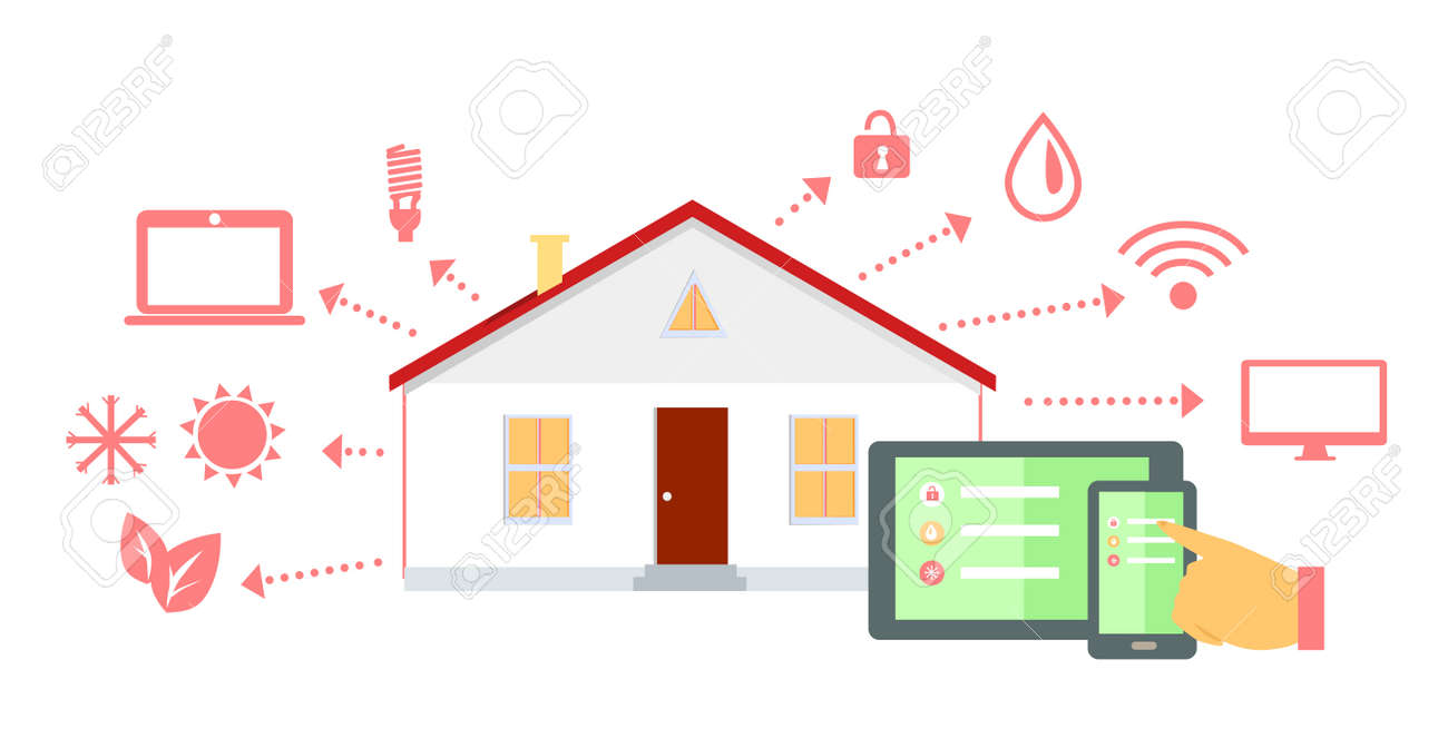 Smart House Concept Icon Flat Design. Home Technology, Digital ...