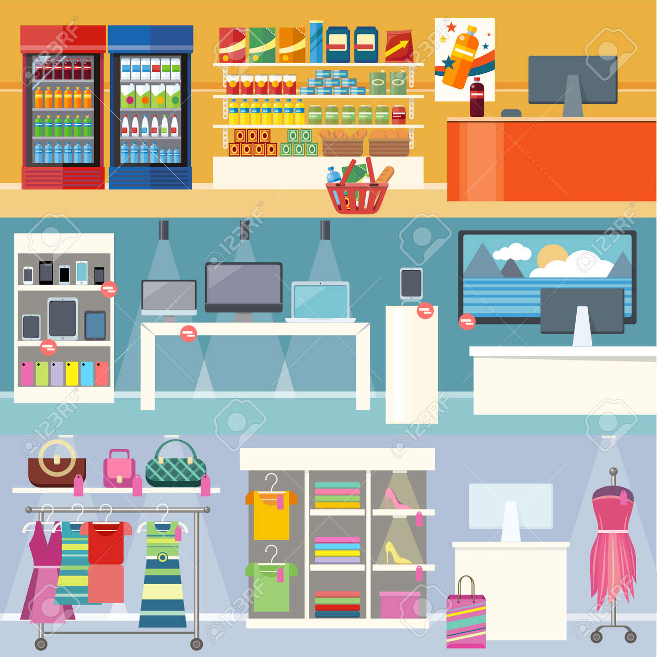 Interiors stores clothes, technology and food. Smartphone and clothing, grocery market, retail and supermarket, business and shopping, consumerism shop illustration. Supermarket interior. Retail store - 51593947