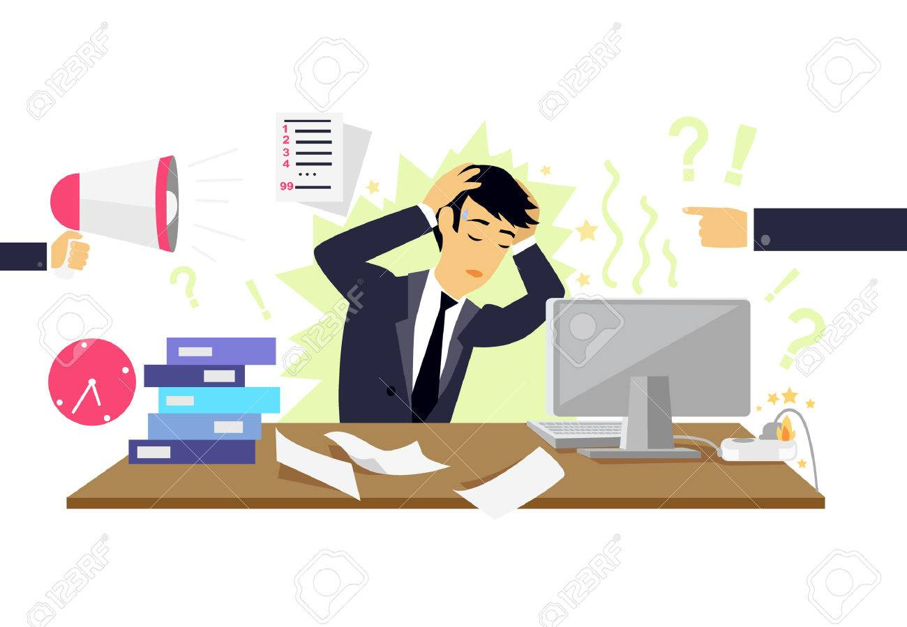 Stressful condition icon flat isolated. Stress health person, disorder and problem, businessman depression, mental attack psychological, busy and chaos illustration. Stressful condition concept - 51593953