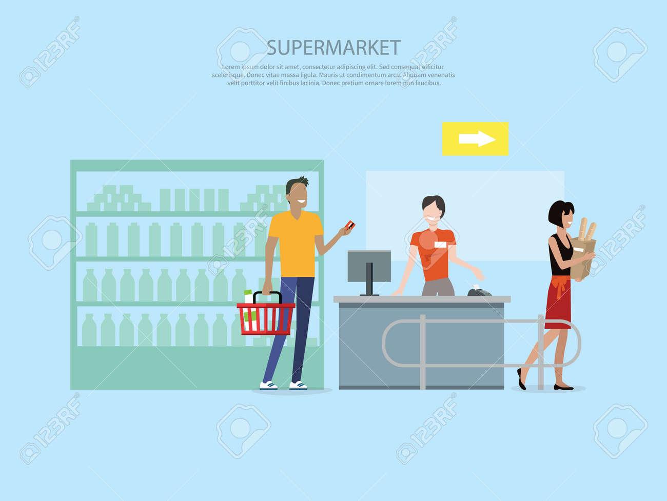 People in supermarket interior design. People shopping, supermarket shopping, marketing people, market shop interior, customer in mall, retail store illustration Foto de archivo - 51594031