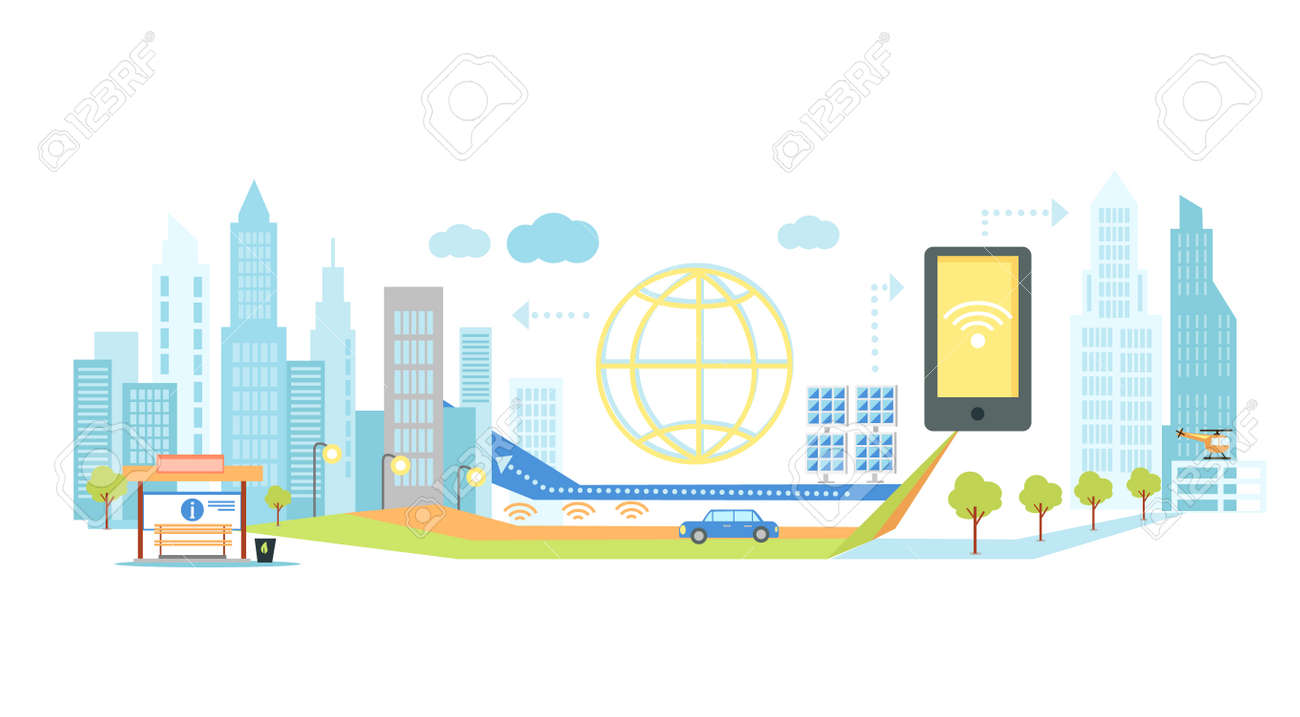 Smart technology in infrastructure of the city. Icon and network system, communication innovation town, connection and future, control information, internet illustration. Smart technology concept - 51809919
