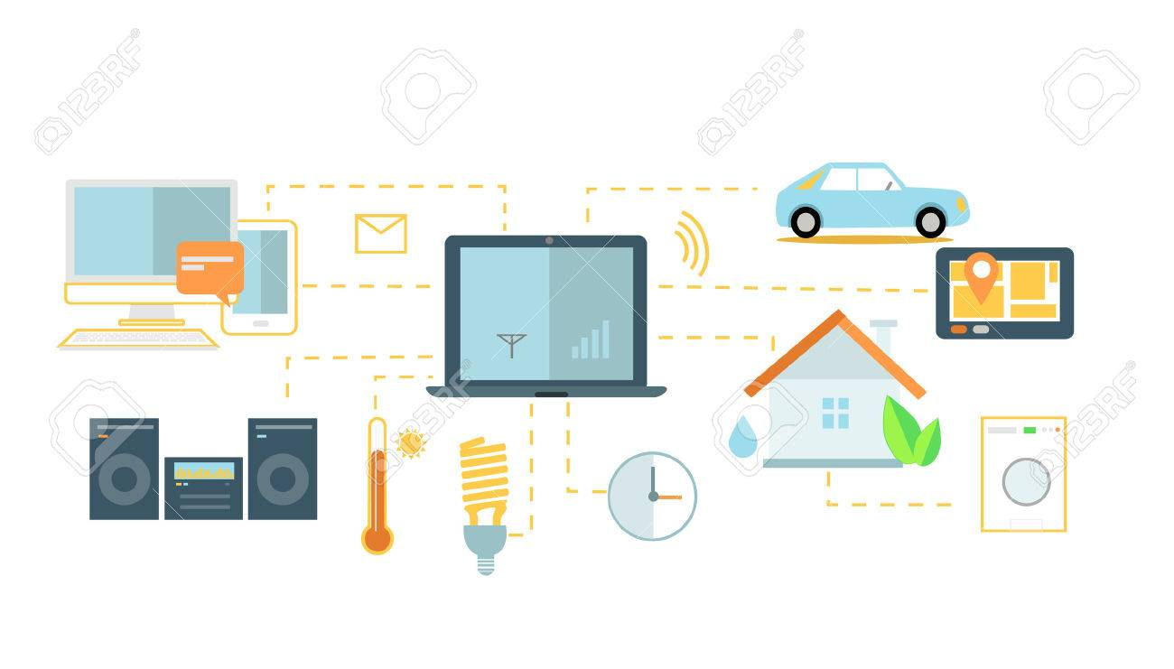Internet Of Things Icon Flat Design. Network And Iot Technology, Web And  Smart Home