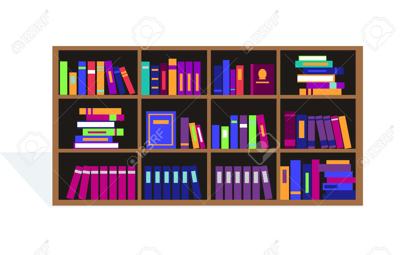 Large Bookcase With Different Books Bookcase Full Of Books Cartoon