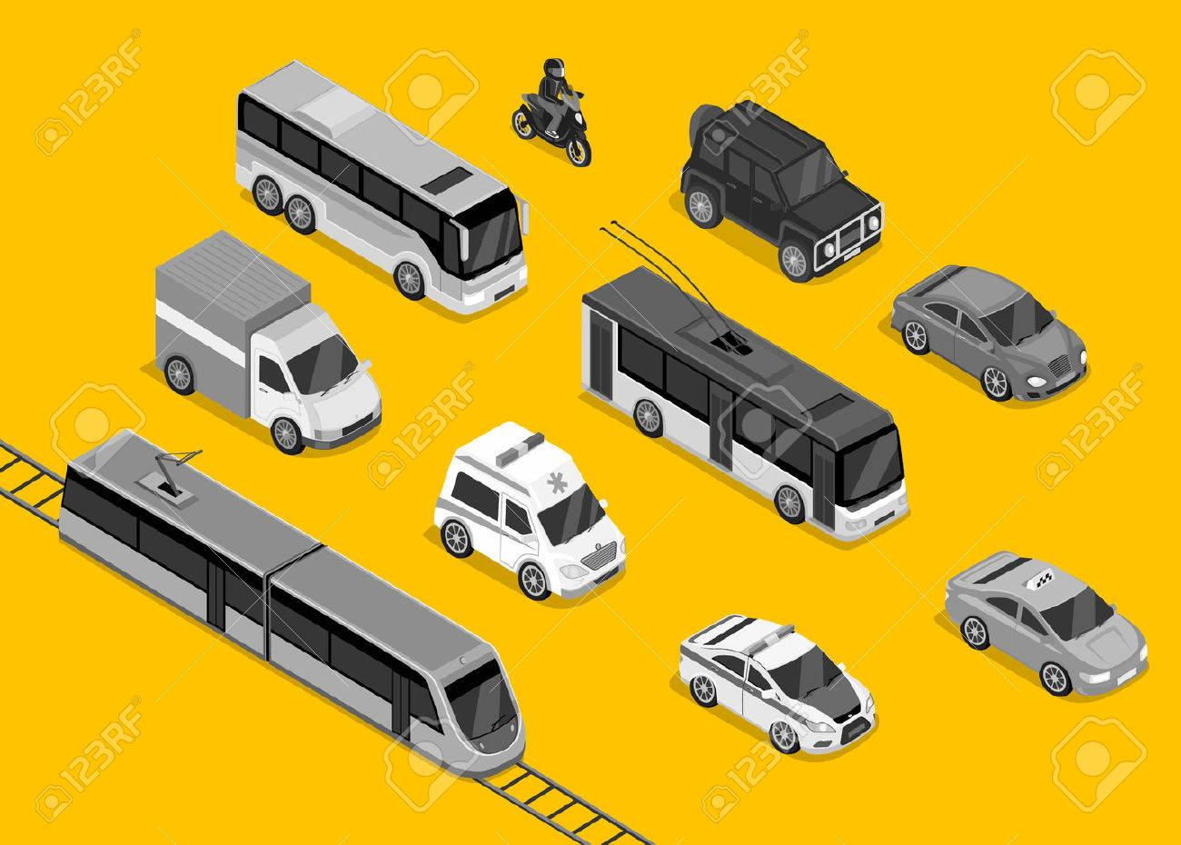 Isometric 3d transport set flat design. Car vehicle, transportation traffic, truck van, auto cargo, bus and automobile, police and motorcycle illustration Stock Vector - 51810364