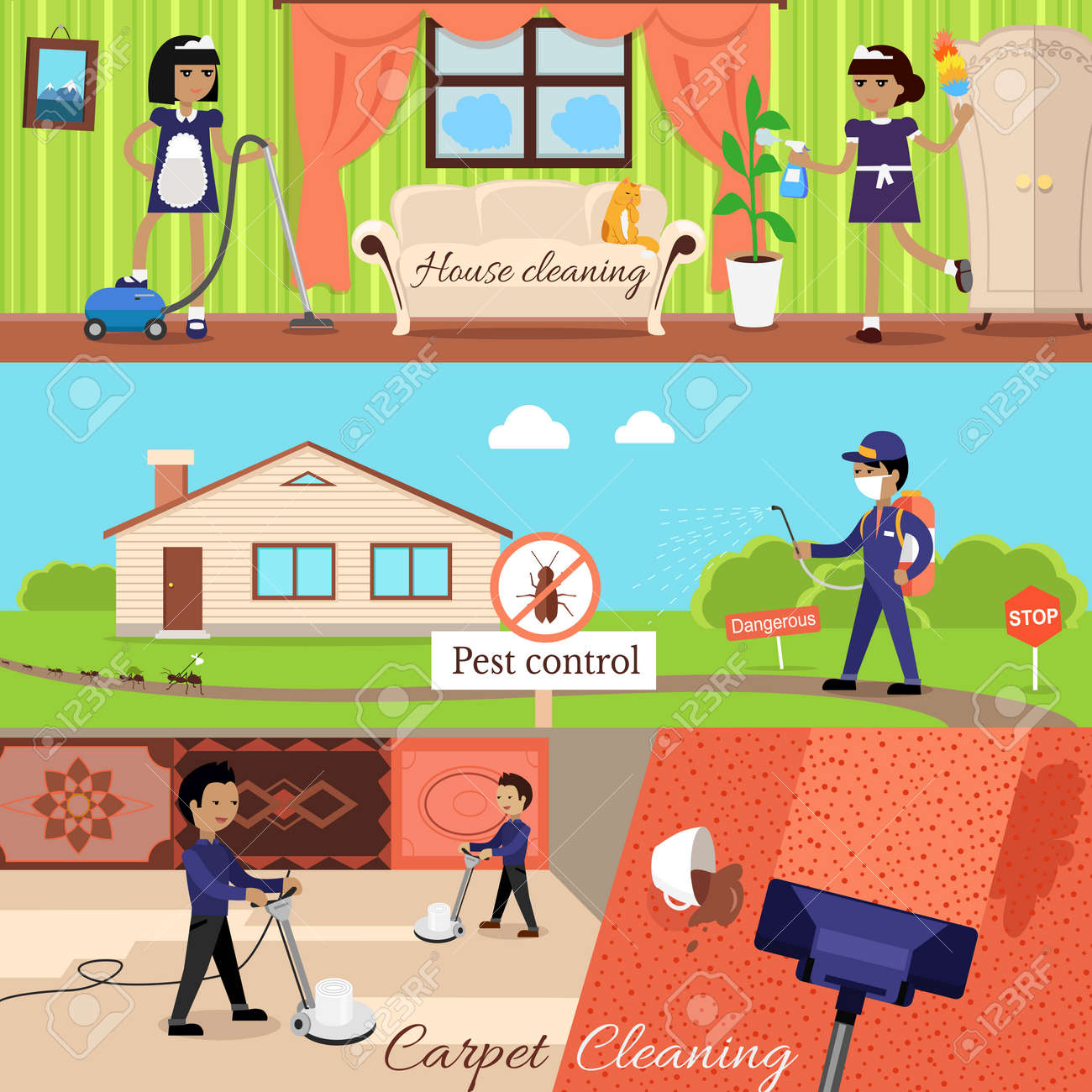 House cleaning and pest control and cleaning carpet, housework and cleaner service, domestic cleaning work, housekeeping wash and cleaning, washing and housecleaning, disinfectant pests illustration - 51856359