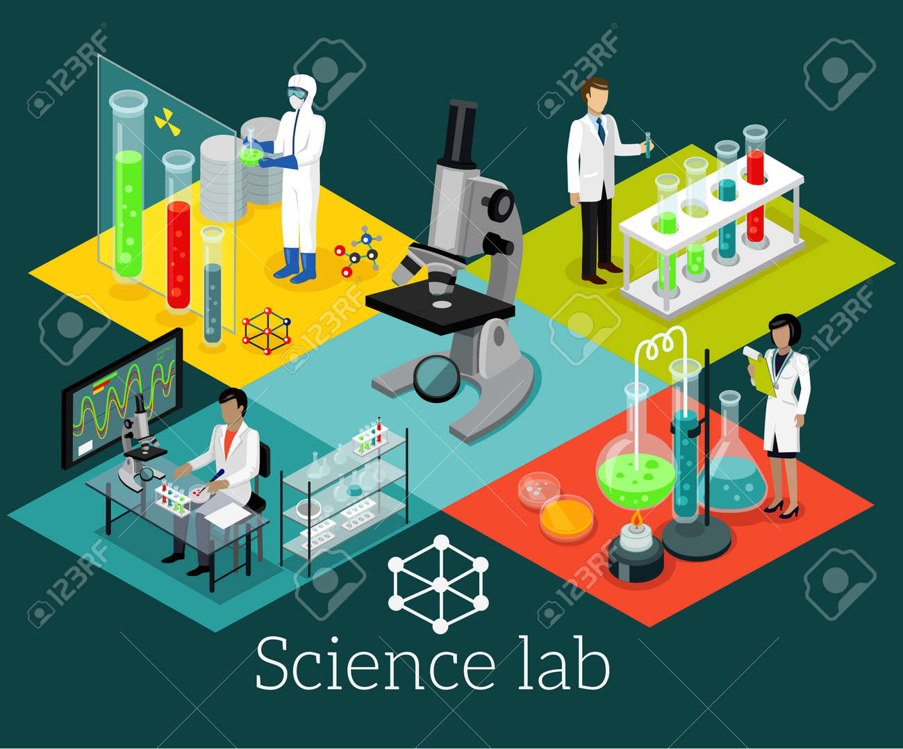 Science lab isomatric design flat. Science and scientist, science laboratory, lab chemistry, research scientific, microscope and experiment, chemical lab science test, technology illustration - 51856430