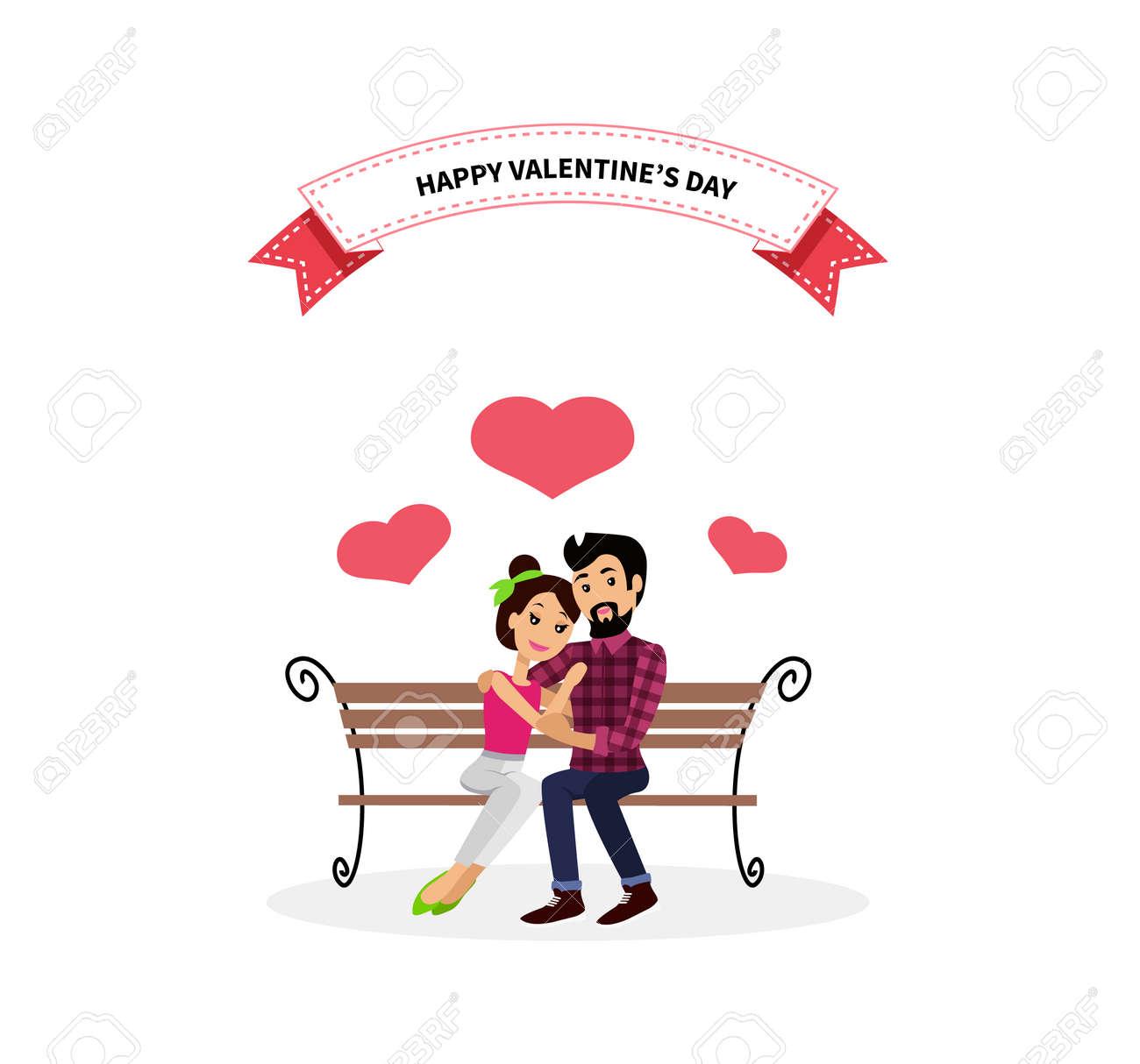 Happy valentine day couple sitting on bench. Happy valentine, couple love, young couple, happy couple, woman hug man, couple happy, lover celebration valentine day, romantic relationship illustration - 51856499