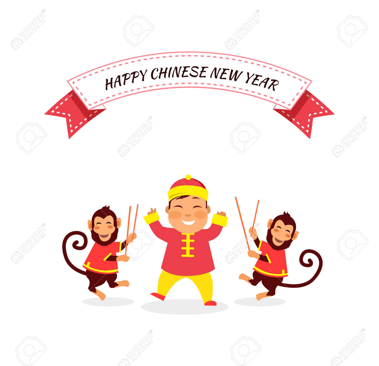 new year card with monkey happy chinese new year 2016 new year