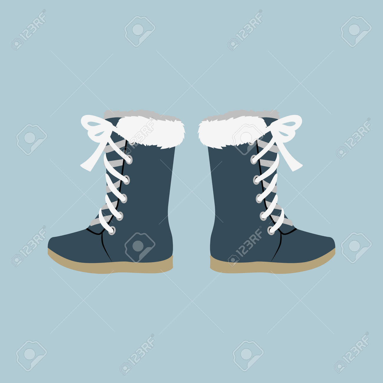 Winter shoes. Winter shoes isolated. Felt boots. Leather shoes. Boots with shoelace. Pair of shoes. Winter boots. Winter boot on a isolated background. Mountain boot. Vector shoes, boot - 52199828