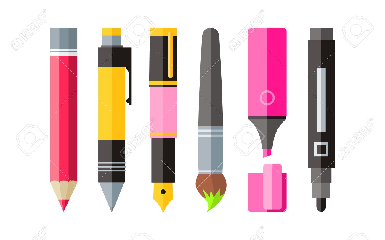 Painting tools pen pencil and marker flat design painting and tool drawing tools