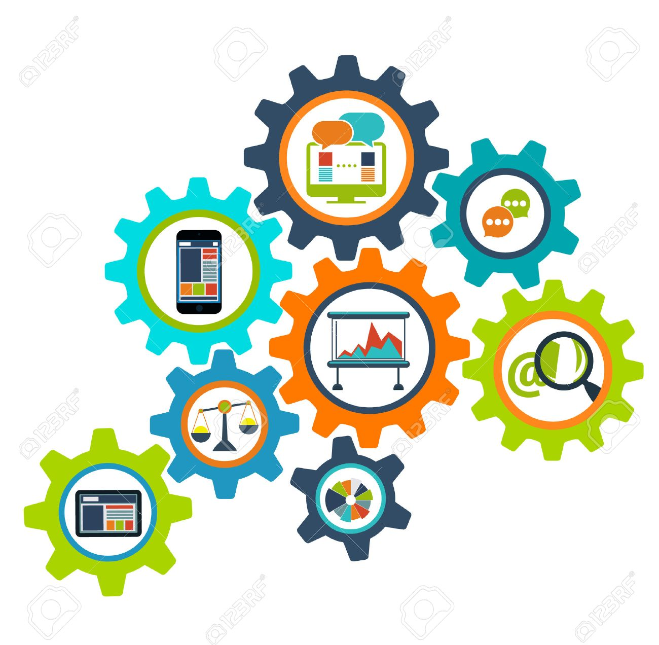 Concept process cogwheel design flat. Process and wheel, cogwheel vector, cog wheels, cogwheel icon, cogwheel gear, mechanism progress process, web communication process mechanical illustration - 52467211