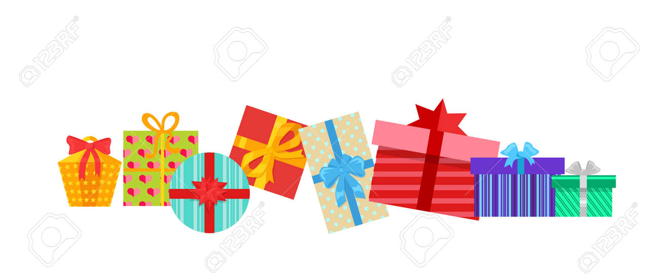 Set of gifts boxes design flat. Gift box present, ribbon and gift box vector, gift box isolated, gift box holiday christmas, gift box surprise for anniversary or birthday or xmas gift illustration - 52467246