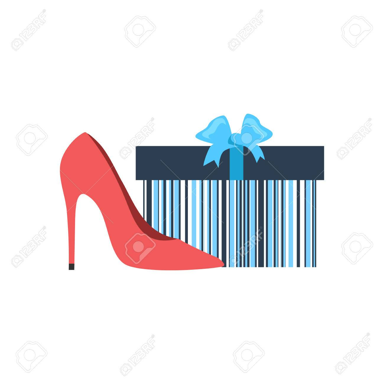 Gift box and woman shoes flat design. Gift and box, shoe present,..