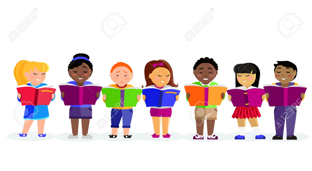 Group of kids studying and learning together. Boys and girl reading books. Various nationalities students reading books. Reading kid. Reading student. Kid reading open book. back to school - 53213540