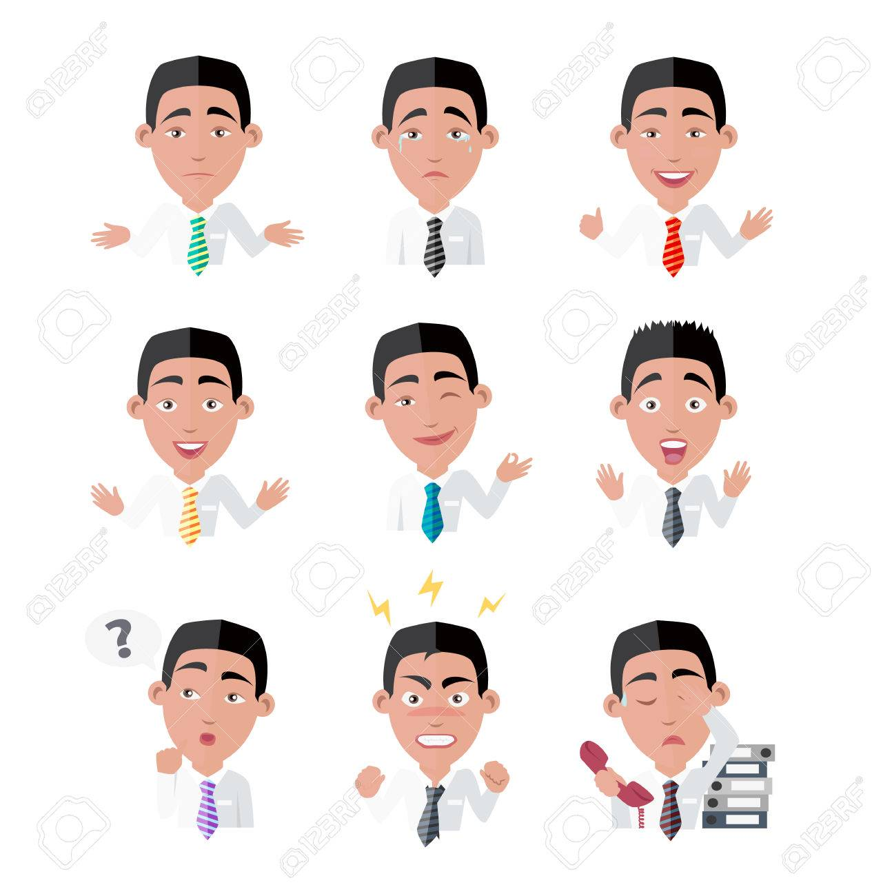 Emotion and avatar. Variety of emotions office worker. Businessman person, cartoon people, character manager, success and angry, exhausted expression, depression and furious vector illustration - 53341843