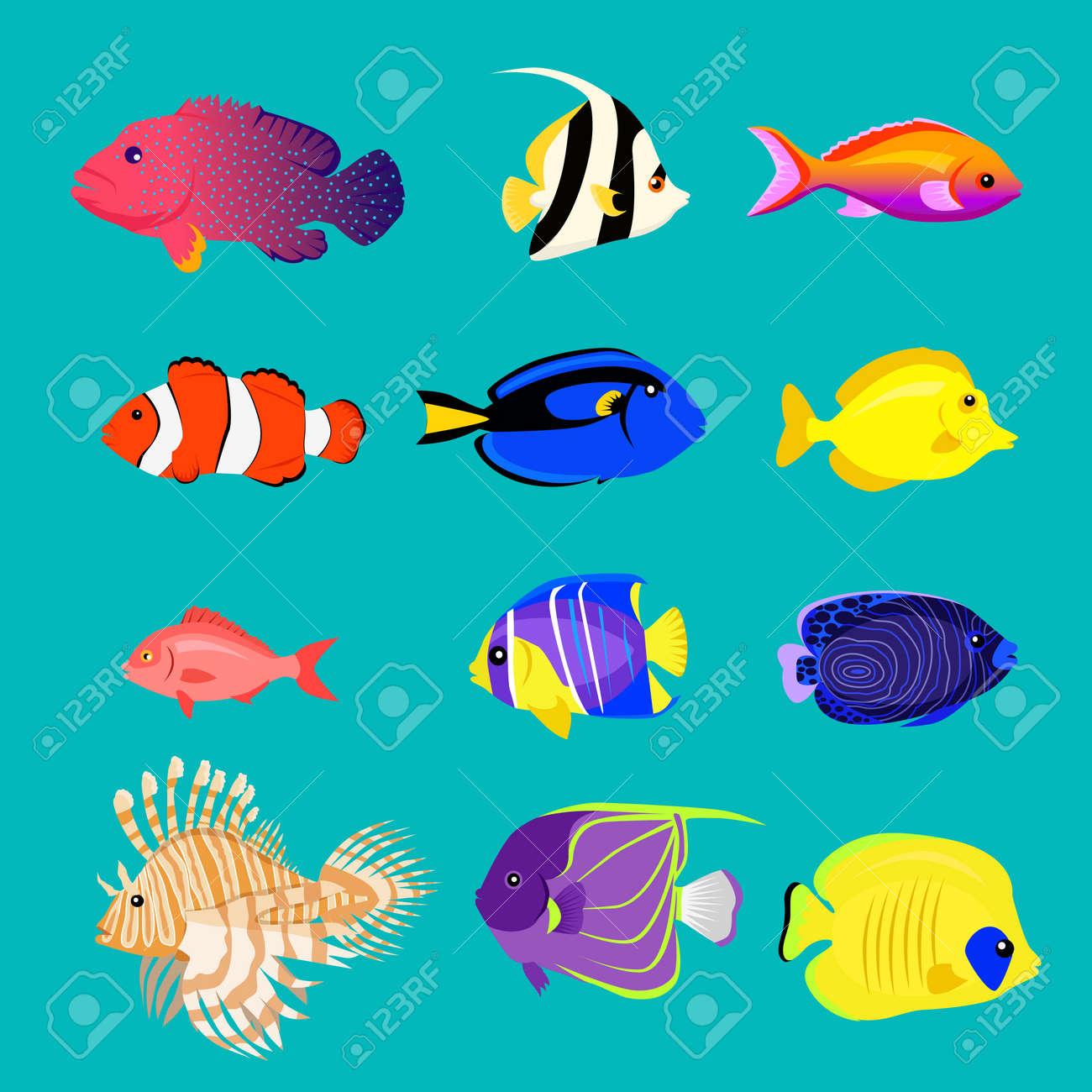 Conjunto De Pescado De Mar Plana Diseño De Color. Ilustraciones ...
