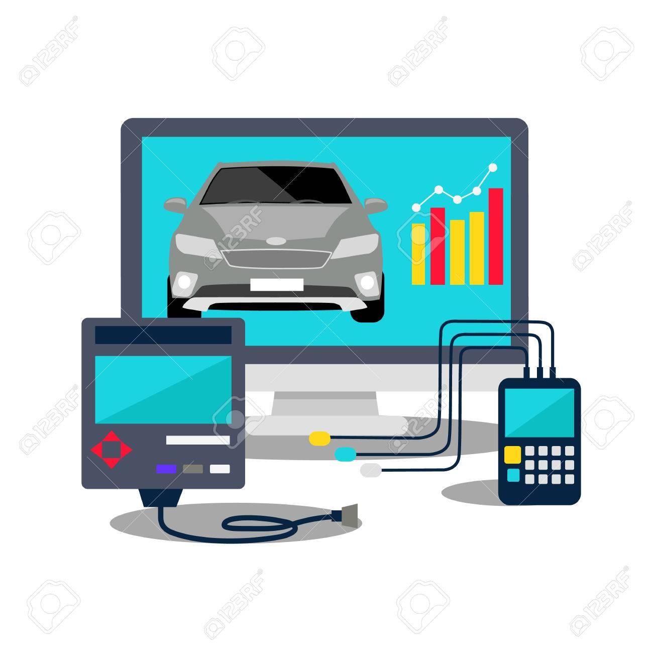 auto mechanic service flat icons of maintenance car repair. auto