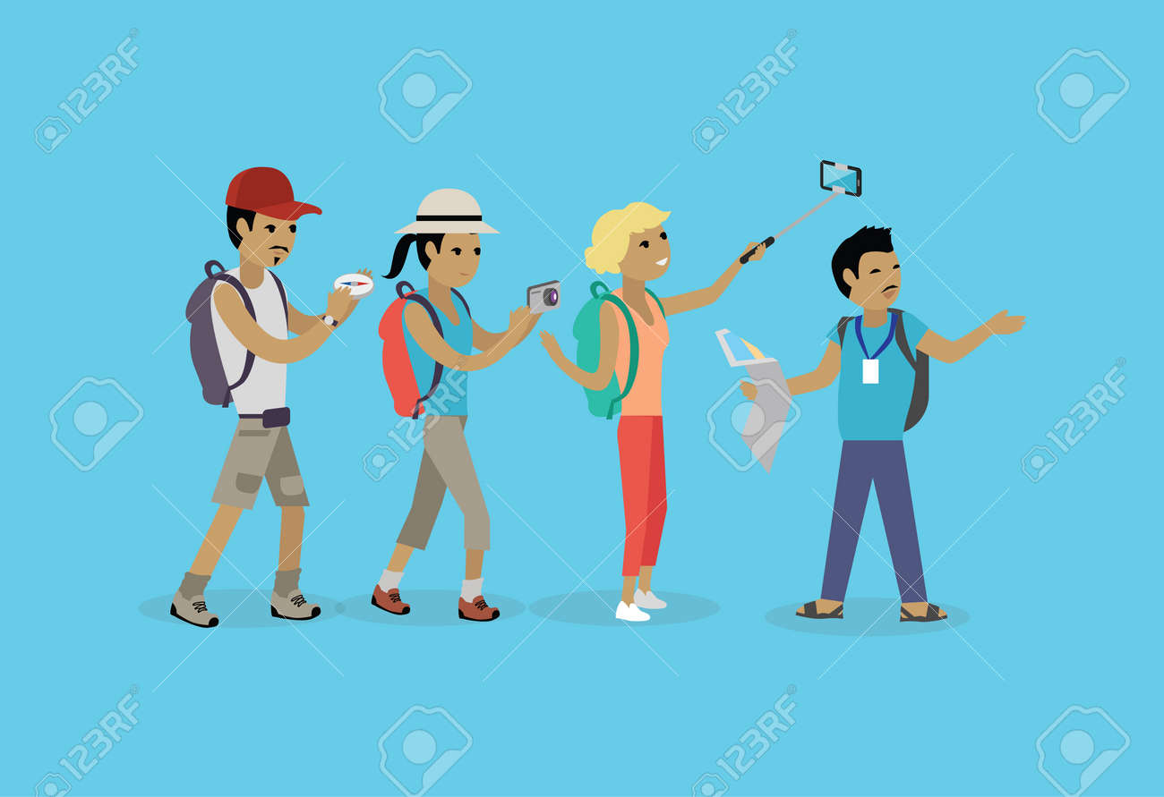 Tourists people group flat style. Travel and tourist group, tour and tourist isolated guide, vacation and tourist people summer leisure vector illustration. Group of tourists - 54338225