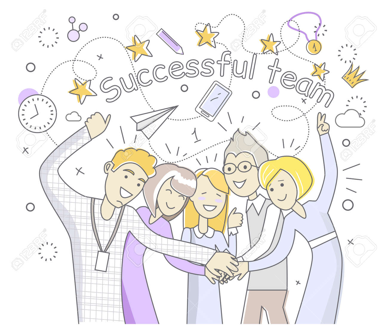successful team people design flat success team and business successful team people design flat success team and business success team work and team