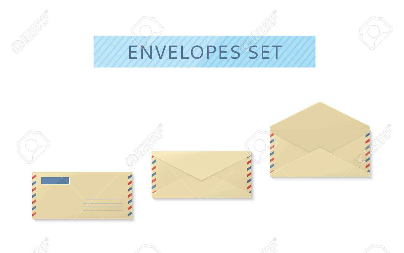 Envelope set open and close design flat letter mail template envelope set open and close design flat letter mail template yellow envelope invitation stopboris Image collections
