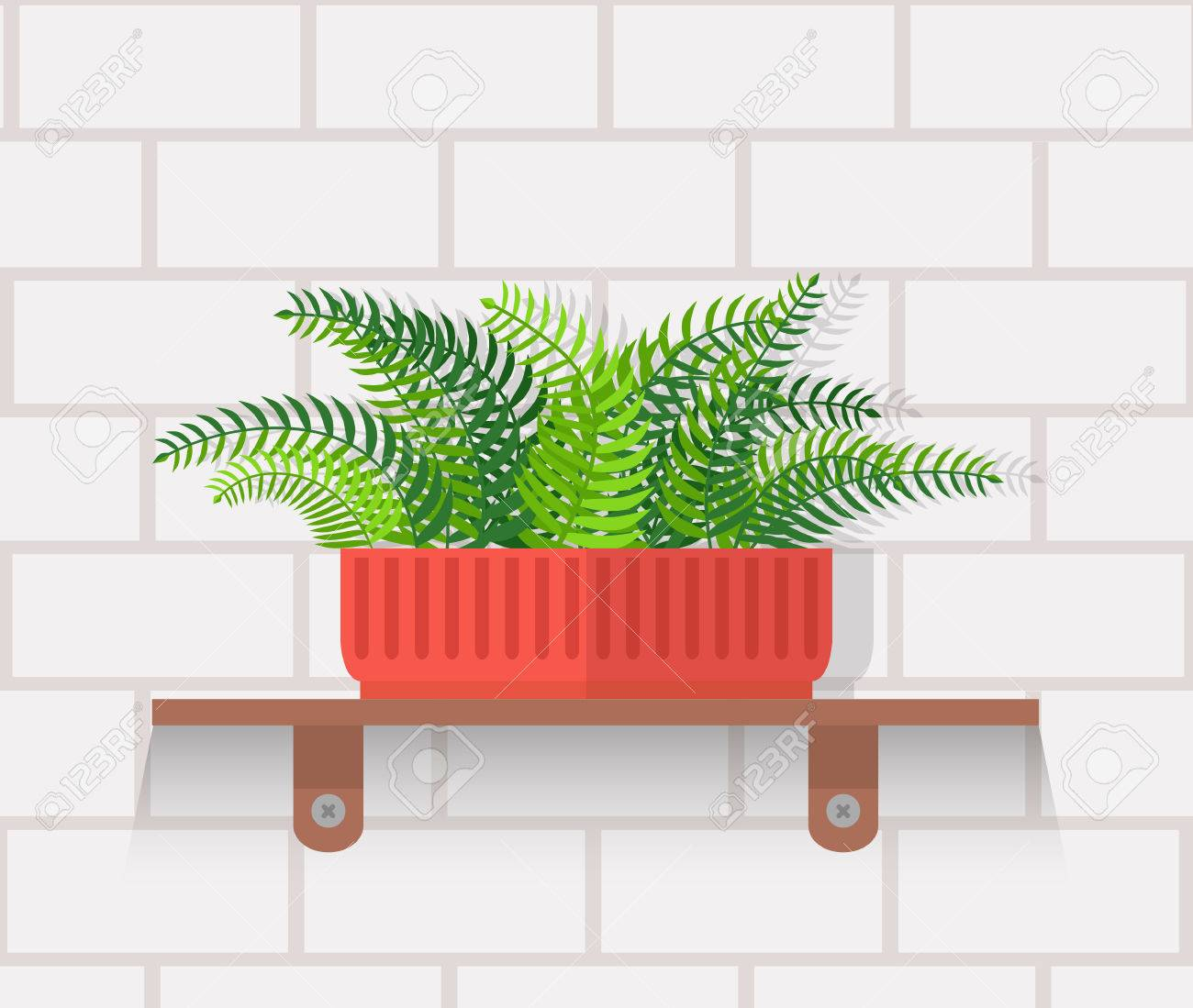 Houseplant Design Flat Concept. House Plant Pot Isolated, Indoor Plants  Flower And Green Nature